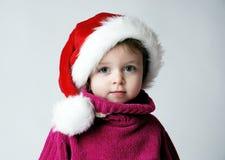flicka små santa Royaltyfria Foton