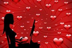 Flicka som är förälskad på internet vektor illustrationer
