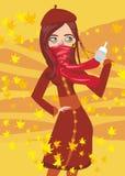 Flicka som är sjuk i höst stock illustrationer