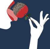 Flicka som äter äpplegodisen Arkivfoton