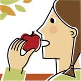 Flicka som äter äpplet Stock Illustrationer