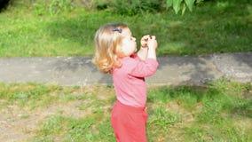 Flicka som äter röda körsbär från träd lager videofilmer