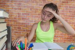 Flicka som arbetar på hans läxa ung attraktiv student Girl som studerar kurser Royaltyfri Fotografi