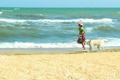 Flicka som bara går med hennes hund tycka om sommar arkivbild