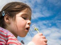 Flicka som blåser en maskros mot en blå himmel arkivfoto