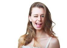 Flicka som blinkar in i Fotografering för Bildbyråer