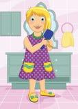 Flicka som borstar hårvektorillustrationen Arkivbild