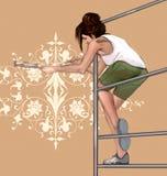 Flicka som dekorerar och att måla en vägg med härliga, symmetriska, architectonic blom- garneringar