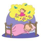 Flicka som drömmer att sova för stund royaltyfri illustrationer