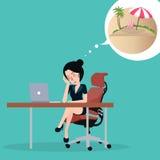 Flicka som drömmer om semester Sitta i kontoret på arbetsplatsdrömmen om ferier Royaltyfria Bilder