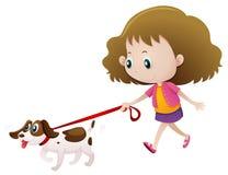 Flicka som går hunden bara stock illustrationer