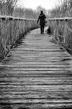 Flicka som går på en bana Fotografering för Bildbyråer