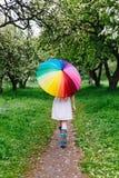 Flicka som går under det stora färgrika regnbåge-paraplyet i den blommande trädgården Vår utomhus Arkivbild