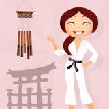 Flicka som gör karate vektor illustrationer