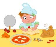 flicka som gör pizza Fotografering för Bildbyråer