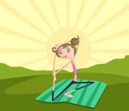 Flicka som gör yoga Arkivfoto
