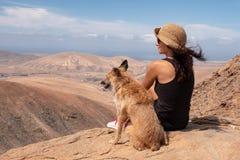 Flicka som håller ögonen på panoraman med hennes valphund fotografering för bildbyråer