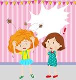 Flicka som har head löss stock illustrationer