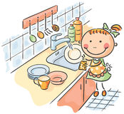 Flicka som hjälper hennes moder att tvätta disken royaltyfri illustrationer
