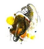 Flicka som kramar en häst Royaltyfri Fotografi