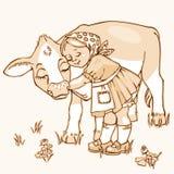 Flicka som kramar kon Royaltyfria Foton