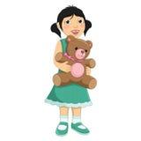 Flicka som kramar Teddy Bear Vector Illustration Royaltyfria Bilder