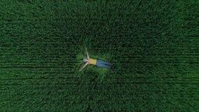 Flicka som ligger i gräset som ses från surret arkivfilmer