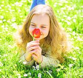 Flicka som ligger p? gr?s, grassplot p? bakgrund Flickan p? att le blomman f?r tulpan f?r framsidah?ll den r?da, tycker om arom T arkivbilder