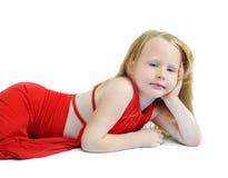 flicka som little lägger Royaltyfria Bilder