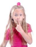 flicka som little quiet håller arkivfoto