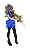 Flicka som luktar rosor Royaltyfri Bild