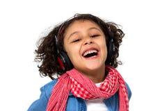 flicka som lyssnar little musik royaltyfri fotografi