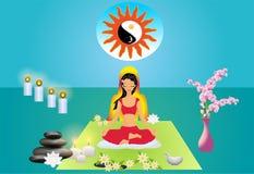 Flicka som mediterar stock illustrationer