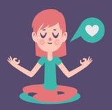 Flicka som mediterar att tänka om förälskelse Arkivbild