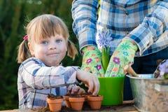 Flicka som planterar blommakulor Royaltyfri Foto