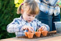 Flicka som planterar blommakulor med henne moder Royaltyfria Bilder