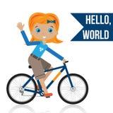 Flicka som rider en cykel Royaltyfria Bilder