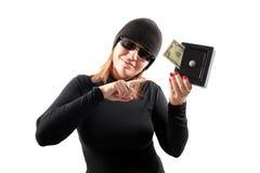 flicka som rymmer den säkra tjuven royaltyfria bilder