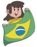 Flicka som rymmer en brasiliansk flagga Arkivbild