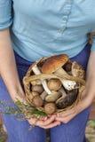 Flicka som rymmer en korg full av champinjoner i händerna arkivbild