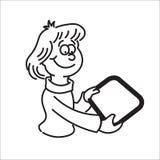 Flicka som rymmer en minnestavla och le royaltyfri illustrationer