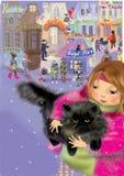 Flicka som rymmer en svart persisk katt Royaltyfria Foton