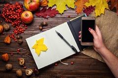 Flicka som rymmer en telefon, en anteckningsbok, en penna och en telefon i höststil royaltyfri bild
