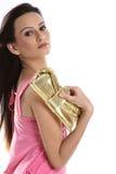 flicka som rymmer little handväska Royaltyfria Bilder
