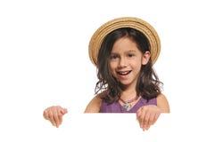 flicka som rymmer little tecken Royaltyfri Foto