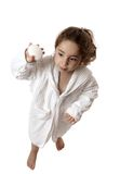 flicka som rymmer little tvål arkivbild