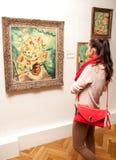 Flicka som ser Fullas målning, Slovakien Fotografering för Bildbyråer