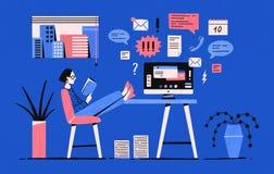 Flicka som sitter med hennes ben på skrivbordet med datoren och läseboken, i stället för att arbeta under uppgifter Förhala kvinn stock illustrationer