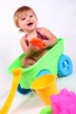 flicka som skrattar little vagn Fotografering för Bildbyråer