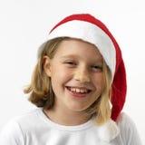 flicka som skrattar santa royaltyfri bild
